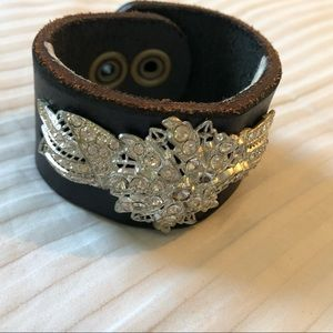 Handmade leather cuff bracelet with vintage brooch